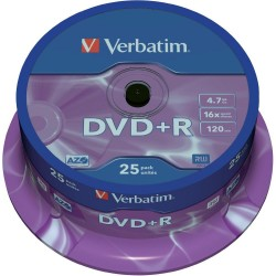 Verbatim DVD+R 16x 4.7GB Bobina 25 Unds
