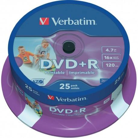 Verbatim DVD+R Printable 16x 4.7GB Bobina 25 Unds