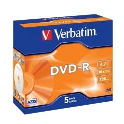 Verbatim DVD-R 16x 4.7GB Caja 5 Unds