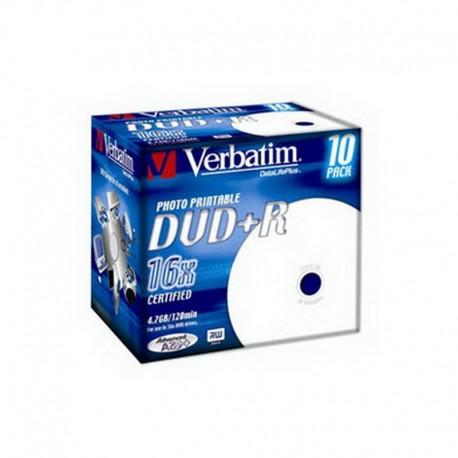 Verbatim DVD+R Printable 16x 4.7GB Caja 10 Unds