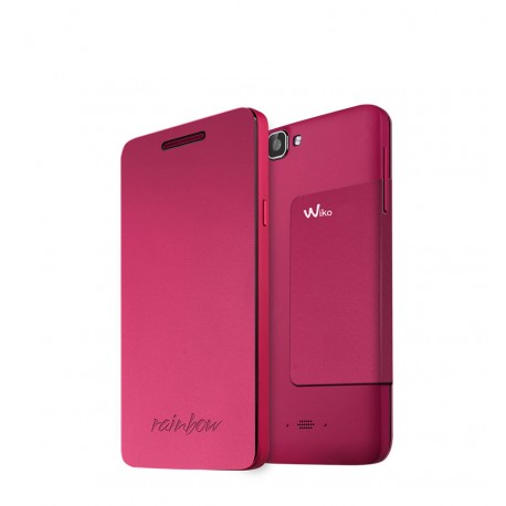 Wiko Rainbow Folio Stand Back Cover Fucsia