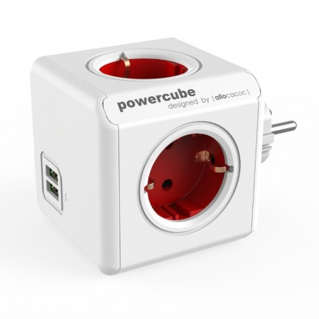 PowerCube 4 Tomas + 2 USB Rojo