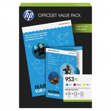 Pack Ahorro HP Nº953 XL Cian/Magenta/Amarillo + Papel