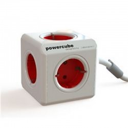 PowerCube 4 Tomas + Cable 1.5M Rojo