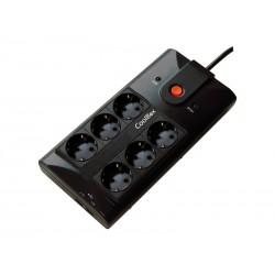 Regleta de 6 schuko con 2 puertos USB Coolbox