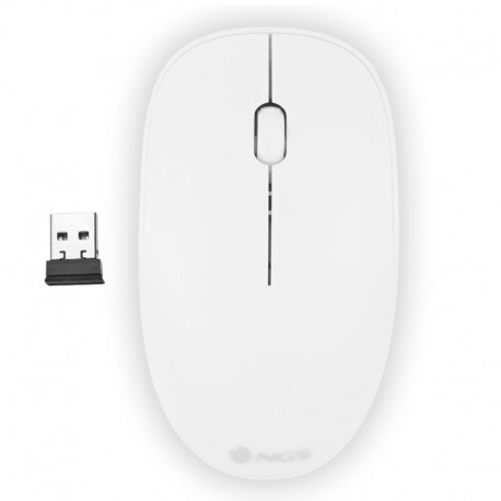 Ratón óptico inalámbrico 2.4Ghz Ngs Blanco