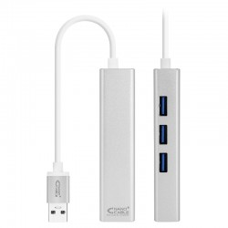 Conversor USB 3.0 a Ethernet Gigabit + 3xUSB 3.0, Plata, 15 cm