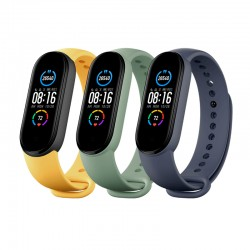 Pulsera para Xiaomi MI Smart Band 5 (3 PACK) NAVY BLUE/YELLOW/MINT GREEN