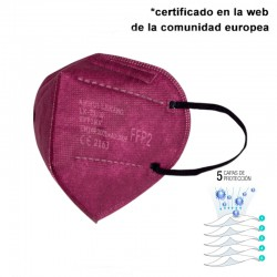 Mascarilla de alta protección FFP2 Granate - 5 CAPAS