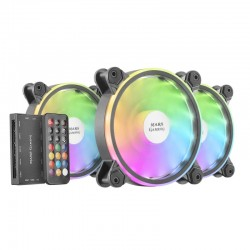 Pack 3 Ventiladores Mars Gaming MFX ARGB Dual 120mm Negros + Mando RF