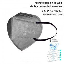 Mascarilla de alta protección FFP2 Gris Plata - 5 CAPAS