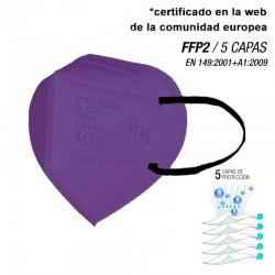 Mascarilla de alta protección FFP2 Moradas - 5 CAPAS