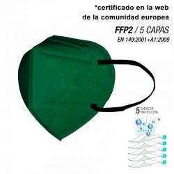 Mascarilla de alta protección FFP2 Verde Oscuro - 5 CAPAS