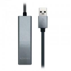 Cable HUB USB 3.0 AISENS A106-0401/ 3 Puertos USB/ 1 RJ45/ Gris